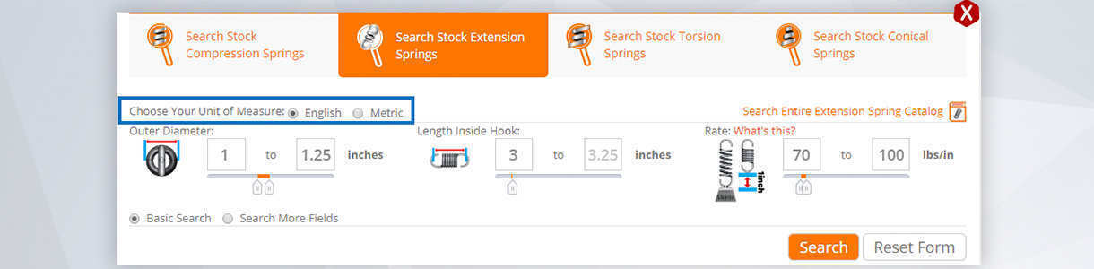 step 1 to buy extension springs online: enter your spring's dimensions