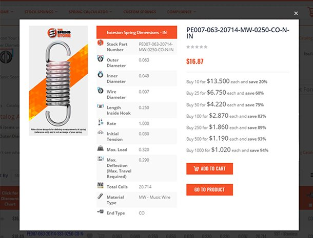 extension spring finder results in quickview pop-up