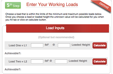 working loads input box from helical compression spring design calculator